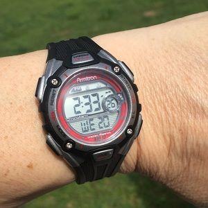 Armitron black sports watch WR 330 ft backlight